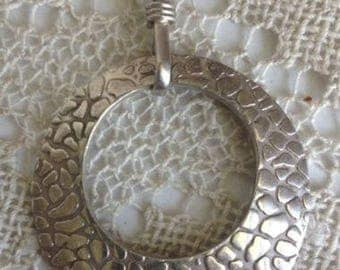 Sterling Silver Modernistic Round Pendant~LARGE Impressive STATEMENT PIECE