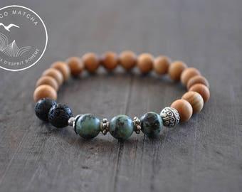 Bracelet - 7 pouces - Turquoise africaine - Bois de santal - Yoga - Coco Matcha