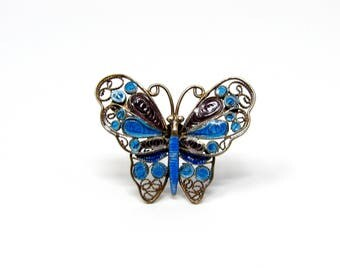 Vintage 800 Silver Filigree Blue & Purple Enamel Butterfly Brooch