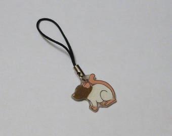 Fancy Rat Phone Charm Capped Agouti Brown Pet Rat Animal Charm