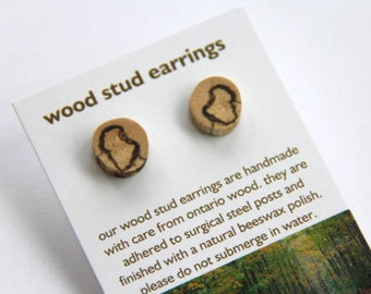 spalted beech - little stud earrings