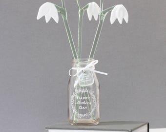 Glass Snowdrop flowers, handmade glass flowers, Mother's day gift,  gift for mum, gift for mom, wedding gift