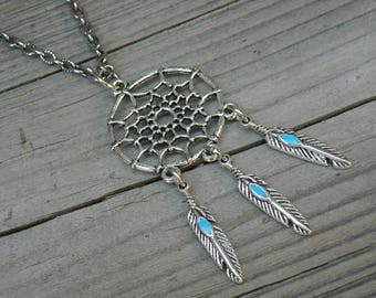 Turquoise Feather Dreamcatcher Necklace Native American Indian Southwestern Tribal Bohemian Silver Dreamcatcher Jewelry Western Cowgirl