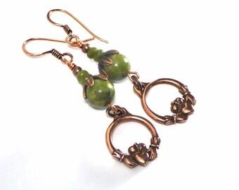 Copper Claddagh Earrings, Celtic Earrings, St. Patrick's Day, Irish Symbol, Green Stone Earrings, Beaded Gemstone Earrings