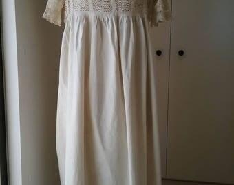 Victorian Edwardian Night Dress. Beautiful. Crochet & Lace. Been in Storage. Old Trousseau.
