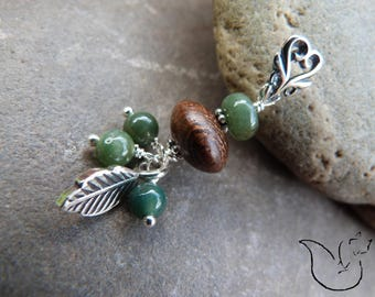 Beaded silver bail pendant exotic wood and MOSS agate stone leaf charm