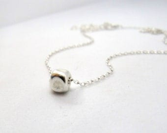 Sterling Silver necklace, Silver bead necklace, Minimalist silver necklace, Single bead necklace, Boho necklace, Layered necklace, Simple
