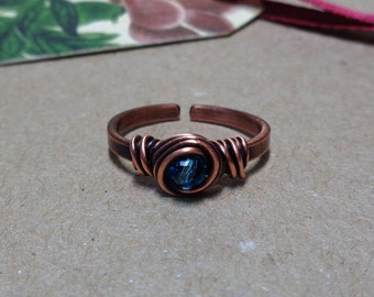 Copper Ring Made to Order, Choose your Bead Color and Size, Oxidized Wire Wrapped Ring match Beaded Hair Pin or Sticks, Gift Idea NataBijoux