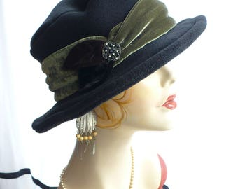 Black Brim Hat/Fedora with Velvet Band