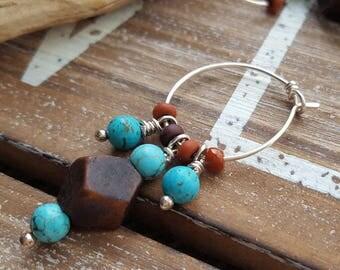 Beaded Hoops, Sterling Silver Dangle Earrings, Rustic, Turquoise, Wood, Boho Hoops, Southwest Earrings, Handmade in USA