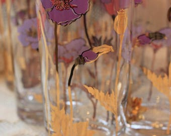 Glasses, Highball, Tumblers, Glassware, Culver, Poppies
