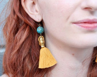 Gold Tassel, Mosaic Turquoise, and Brass Owl Earrings // Colorful Tassel Earrings // Owl Jewelry // Festival Jewlery // Gift for Her