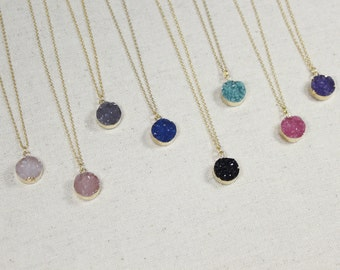 Gold Round Druzy Necklace | Druzy Pendant | Rose Quartz Druzy | Natural Stone | Boho Chic | Blush Druzy | Black | Pink | Purple | Turquoise