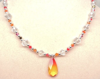Fire and Ice Crystal Necklace