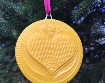 Beeswax Ornament - The Giving Heart - 4.25 in wide
