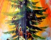 Iroquois Tree of Peace by Oren Lyons, 11x14 Vintage Art Print c1960s, Syracuse NY, Onondaga Indian Nation, FREE SHIPPING