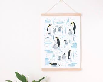 cute animal print, penguin nursery, animal art nursery, penguin print, penguin lover gift, neutral nursery print, penguin art print