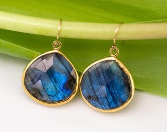 Labradorite Earrings Gold, Natural Gemstone Drop Earrings, Statement Earrings, Unique Gemstone Gift, Boho Gold Earrings, Gift for Friend