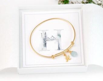 Initial Birthstone Charm Bracelet, Christmas Gift for Friend, Birthstone Bracelet for Mom, Big Little Gift, Customized Bracelet Gift Card