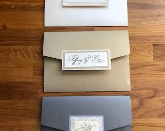 DESTASH - DIY Pocket Fold Invite Jacket for DIY Wedding Invitations - Quince Invites - Soft Gold Shimmer Wedding Invite Supplies