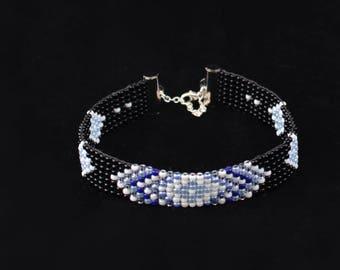 Beaded Bracelet, Loom Bracelet, Black White Blue, Seed Bead Bracelet, For Her, BeadXS, Boho Jewelry, Bracelet, Sterling Chain Clasp Rings