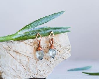 Moss Aquamarine Quartz Earrings, Rose Gold Geometric Earring, Wire Wrapped, Hand Carved Gemstone