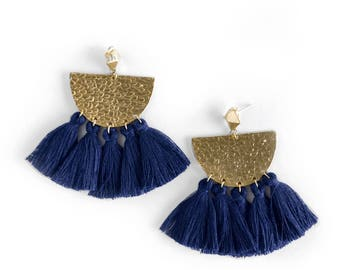 Fringe Earrings, Tassel Earrings, Modern Earrings, Statement Earrings, Drop Earrings, Colorful Earrings, Navy Earrings, Gifts for her