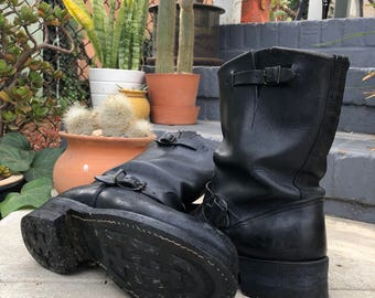 Classic vintage leather engineer/biker boots