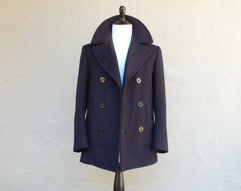 Vintage Mens Size 36 Classic WWII US Navy Pea Coat Wool Kersey Dark Blue Jacket Heavy Thick Single Vent Warm Winter Sailor Military Aviator
