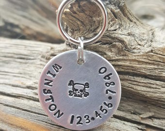 Pet ID Tag, Dog Tag, Dog Collar Tag, Personalized, Pet Charm, Hand Stamped, Aluminum Tag, Custom Dog Tag, Skull and Cross Bone, Dog ID Tag