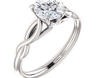 1ct Forever One Moissanite (Colorless) 14K White Gold Diamond Engagement Ring  - ST233816-1148-1ct