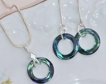 ONLY 1! Swarovski Bermuda Blue Cosmic Circle Jewelry Set,Blue Rainbow Jewel Necklace Earring Set,Demi Parure,Something Blue,Sterling Silver