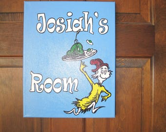 Personalized Dr. Seuss Canvas Room Sign