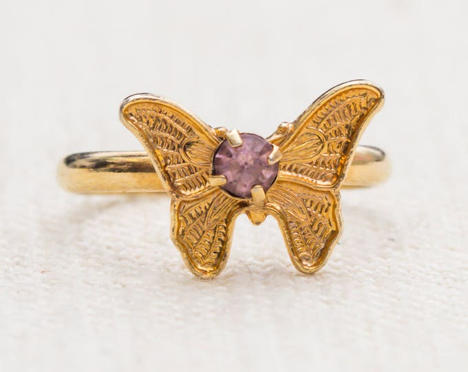 Vintage Butterfly Ring Light Purple Pink Rhinestone Small Adjustable XS or Child's Size Vintage Ring Gold Butterfly Adjustable 7RI
