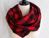 Buffalo Plaid Scarf - Red and Black Flannel Scarf - Fall Scarf - Red Infinity Scarf - Buffalo Check Scarf