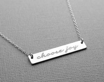 Choose Joy Necklace // Personalized Necklace // Hand Stamped Jewelry // Stamped Jewelry // Hand Stamped Necklace // Sterling Silver Bar