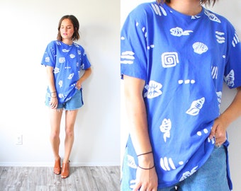 Vintage southwestern blue shirt // blue fish print top // beach blouse // Mexican blue swim cover up top // southwestern summer shirt blue