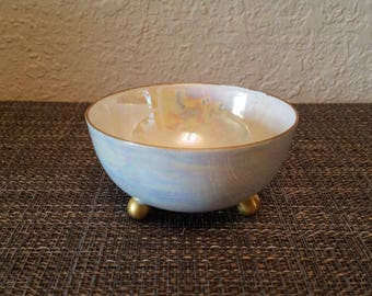 T&V / Tressemann + Vogt Limoges France Tiny Pearlescent Lusterware Bowl with Gold Rim and Ball Feet