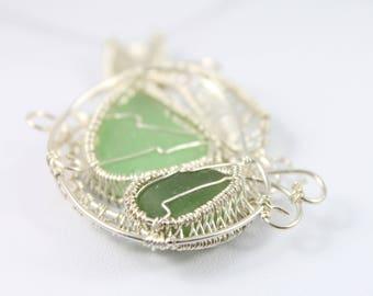 Sea Glass Necklace, Sea Glass Jewelry, Wire Wrapped Necklace, Wire Wrapped Jewelry, Beach Glass Necklace, Beach Glass Jewelry, Sea Glass