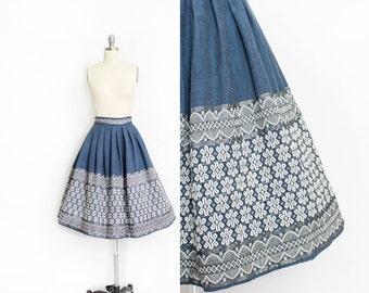 Vintage 1950s Skirt - Slate Blue Cotton Ethnic Embroidered Silver Full Skirt - Small