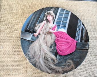 Grimm Fairy Tale Rapunzel Collector's Plate, Collector's plate, Rapunzel Die Gebruder (The Brothers Grimm) Vintage , German Plate