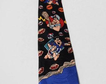 Fred Flintstone Tie Sports Football Basketball Baseball 100% Silk Hanna Barbera