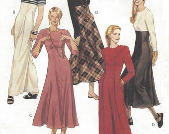 90s Womens Empire Waist Jumpsuit with Wide Legs or Maxi Dress McCalls Sewing Pattern 6812 Size 12 14 16 Bust 34 36 38 UnCut