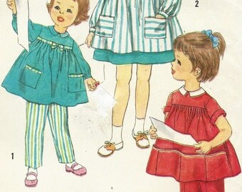 1950's Girls Smock and Pants Smock with Sleeve & Pocket Variations Simplicity Sewing Pattern 3177 Size 1 Breast 20 Vintage Baby Patterns