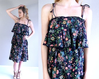vintage 70s black FLORAL PRINT Tiered Ruffle DRESS Small boho hippie festival retro indie bohemian