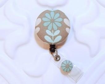 Retractable Badge Holder - Cute Badge Holder - Badge Lanyard - Badge Reel - Nurse Badge Holder - Aqua Blue And Gray