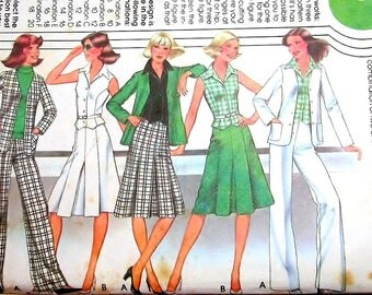 Vintage 1970s Sewing Pattern McCall's 5625 Suit Separates, Pleated Skirt Vest Jacket Pants, Womens Miss Size 12 14 16 Bust 34 36 38 Uncut FF