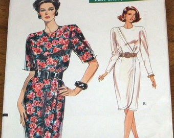Vintage 1980s Very Easy Sewing Pattern Vogue 7687 Surplice Dress with Slim Skirt Womens Misses Size 6 8 10 Bust 30 31 32 Uncut Factory Folds