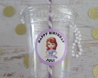 Sofia the First Princess • Plastic Disposable Party Favor Cups w/ Lids, Straws & Tags • Set of 12