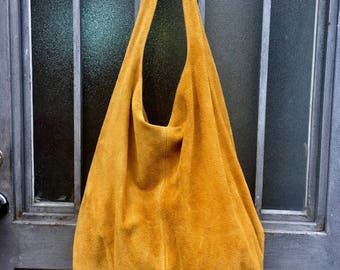 Large TOTE leather bag in MUSTARD yellow. Soft natural suede genuine leather bag. Bohemian bag. MUSTARD yellow suede bag. Hobo, laptop Bag